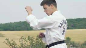 Jeune maître de sport exerçant l'art du Taekwondo sur la nature lentement banque de vidéos