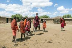 Jeune Maasai Askari faisant une danse sautante traditionnelle Photos libres de droits