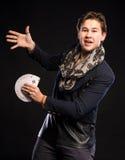 Jeune magicien avec des cartes Image libre de droits