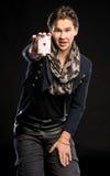 Jeune magicien montrant l'as Photo stock