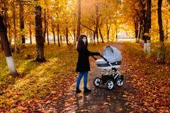Jeune maman heureuse avec une poussette en parc d'automne image stock