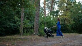 jeune maman marchant avec la poussette dans la forêt - mouvement lent banque de vidéos