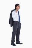 Jeune marchand avec la jupe au-dessus de son épaule Photographie stock libre de droits