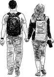 Jeune marche de couples Images libres de droits