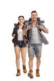 Jeune marche de randonneurs Photo stock
