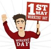 Jeune marche et protestation dans le jour des travailleurs, illustration de vecteur Image libre de droits
