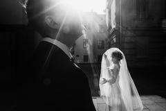Jeune mariée élégante tenant le voile et posant avec l'und de marié au soleil Images libres de droits
