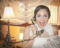 Jeune mariée appelle Photographie stock