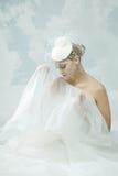 Jeune mariée au-dessus du fond de ciel Type de cru Photo libre de droits