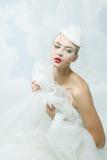 Jeune mariée au-dessus du fond de ciel Type de cru Images libres de droits