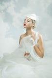 Jeune mariée au-dessus du fond de ciel Type de cru Photo stock