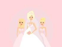 Jeune mariée avec des demoiselles d'honneur Photographie stock