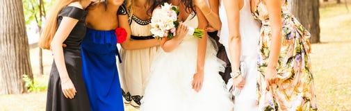 Jeune mariée avec des demoiselles d'honneur le jour du mariage Image libre de droits