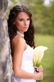 Jeune mariée avec des lis Image stock
