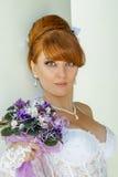 Jeune mariée avec du charme rousse de portrait Photographie stock libre de droits