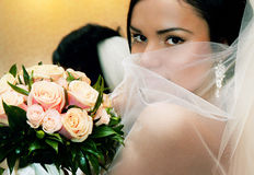Jeune mariée avec le beau cheveu Image stock