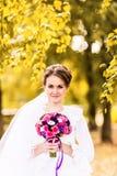 Jeune mariée avec le bouquet posant en parc ensoleillé d'automne image stock