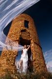 Jeune mariée avec le long voile Photographie stock