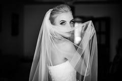 Jeune mariée blonde de beaux yeux bleus mystérieux se cachant derrière le voile b Photo libre de droits
