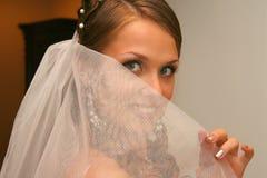 Jeune mariée dans la robe de mariage photo libre de droits