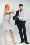 Jeune mariée dans le casque Photos stock