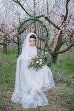 Jeune mariée dans le jardin de floraison Images stock