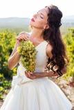 Jeune mariée dans un vignoble, automne Image libre de droits