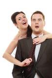 Jeune mariée dominante avec le mari Image libre de droits