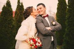 Jeune mariée embrassant le mari à la joue entre les buissons Photos libres de droits