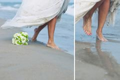 Jeune mariée en mer image stock