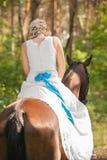 Jeune mariée et cheval Image libre de droits