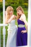 Jeune mariée et demoiselle d'honneur dehors Photo stock