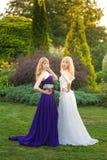 Jeune mariée et demoiselle d'honneur dehors Photos stock