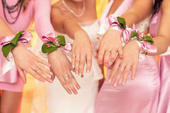 Jeune mariée et ses demoiselles d'honneur avec des bracelets sur des mains Photos libres de droits