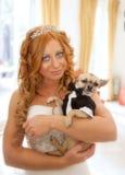 Jeune mariée et son animal familier Photographie stock libre de droits