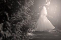 Jeune mariée faisant la pirouette en parc Image stock