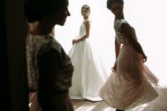 Jeune mariée fantastique et ses demoiselles d'honneur Photo stock