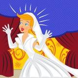 Jeune mariée heureuse avec le fond de bande dessinée illustration de vecteur