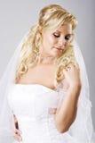 Jeune mariée heureuse avec le voile photographie stock
