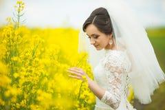 Jeune mariée magnifique élégante de brune avec le bouquet rouge sur le backgro Photo libre de droits