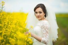 Jeune mariée magnifique élégante de brune avec le bouquet rouge sur le backgro Photographie stock
