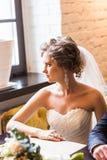 Jeune mariée magnifique dans la robe de mariage avec des bijoux de diamant Image stock