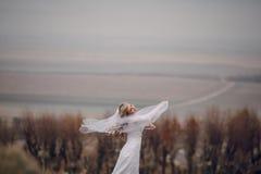 Jeune mariée marchant en nature d'or d'automne Photos libres de droits