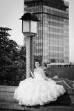 Jeune mariée posant à côté de la guerre biologique de réverbère Image stock