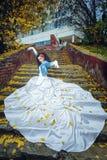 Jeune mariée sur des escaliers Images libres de droits