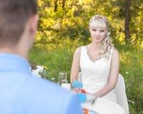 Jeune mariée sur la nature Photo stock