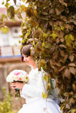Jeune mariée sur la nature d'automne images libres de droits
