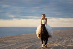 Jeune mariée sur un cheval au coucher du soleil par la mer Images stock