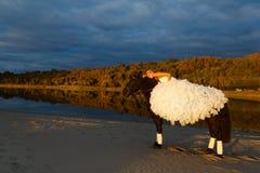 Jeune mariée sur un cheval au coucher du soleil par la mer Photographie stock libre de droits