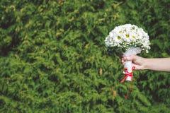 Jeune mariée tenant le bouquet photographie stock